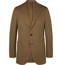 Caruso Butterfly Slim Fit Cotton Linen And Silk Blend Suit Jacket Neutrals