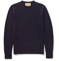 Wooyoungmi Panelled Textured Wool Sweater Blue
