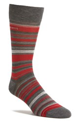 Boss Men's 'Rs Design Alt Stripe' Socks Medium Grey