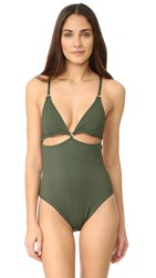 Alexander Wang Cutout Triangle Top One Piece Swimsuit Fatigue