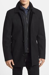 Vince Camuto Melton Car Coat With Removable Bib Navy