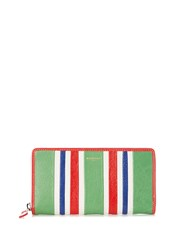 Balenciaga Bazar Zip Around Leather Continental Wallet Green Stripe