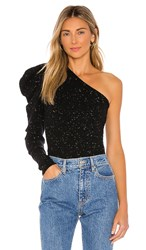 Autumn Cashmere One Shoulder Draped Sleeve Sweater In Black. Onyx