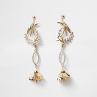 River Island Gold Tone Bird Rhinestone Drop Earrings