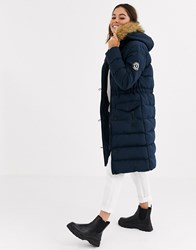 Brave Soul Whitehorse Padded Long Jacket With Faux Fur Trim Hood Navy