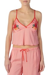 Room Service Cropped Satin Camisole Pink Glow Stripe