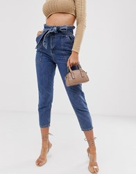 River Island Paperbag Waist Jeans In Mid Wash Blue
