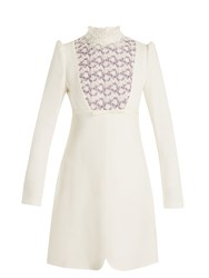 Giambattista Valli Floral Lace Trimmed High Neck Crepe Dress Ivory Multi