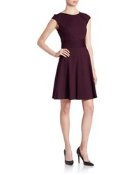 Eliza J Cap Sleeve Fit And Flare Dress Aubergine