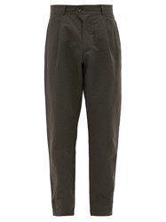 Oliver Spencer Hidcote Wide Leg Cotton Blend Trousers Green