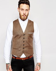 Heart And Dagger Tweed Waistcoat In Skinny Fit Brown