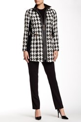 Insight Digitalized Houndstooth Jacket With Faux Leather Trim Multi