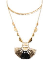 Lonna And Lilly Gold Tone Charm Bead Tassel 40 Adjustable Double Row Necklace Natural