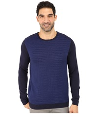 Calvin Klein Cotton Modal Plaited Rib Shoulder And Jacquard Crew Sweater Peacoat Men's Sweater Blue