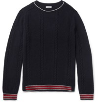 Lanvin Slim Fit Stripe Trimmed Baby Alpaca And Merino Wool Blend Sweater Navy