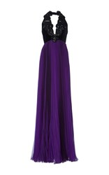 Andrew Gn Bead Embroidered Halter Gown Purple