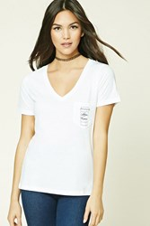 Forever 21 Coffee Please Graphic Tee White Black