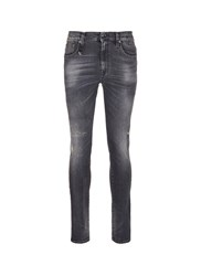 R 13 'Skate' Distressed Skinny Jeans Grey