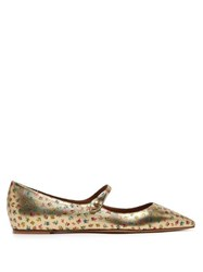 Tabitha Simmons Hermione Floral Print Leather Mary Jane Flats Gold Multi