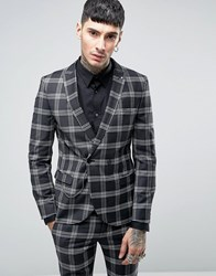 Noose And Monkey Super Skinny Db Suit Jacket In Check With Chain With Stretch Black