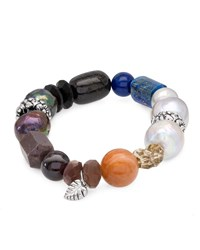 Stephen Dweck Stone And Mixed Pearl Stretch Bracelet Multi