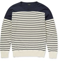 J.Crew Slim Fit Striped Cotton And Cashmere Blend Sweater Navy