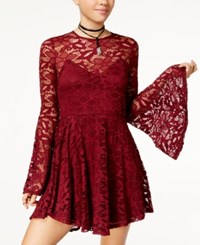 Material Girl Juniors' Lace Fit And Flare Dress Created For Macy's Tile Red