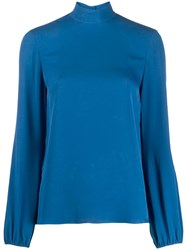 Theory Stand Up Collar Blouse Blue