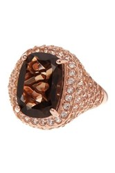 Savvy Cie 18K Rose Gold Vermeil Smoky And White Topaz Cocktail Ring Yellow