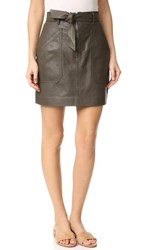 Rebecca Taylor Tumbled Leather Skirt Olive