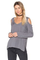 Bella Dahl Cold Shoulder V Neck Blouse Gray