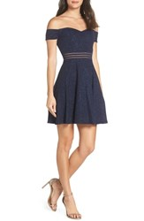Sequin Hearts Off The Shoulder Glitter Knit Dress Na Navy