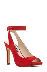 Nine West Bartoina Ankle Strap Sandal Red Suede