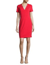 T Tahari Notched Detailed Sheath Dress Red