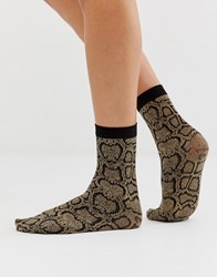 Gipsy Snake Print Ankle High Sock Black