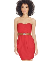 Amy Byer Bcx Sleeveless Sweetheart Neck Belted Dress