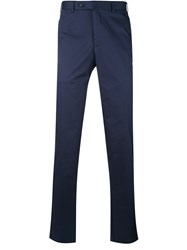 Canali Tailored Trousers Men Cotton Spandex Elastane 48 Blue