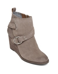 Lucky Brand Yerik Suede Wedge Ankle Booties Taupe