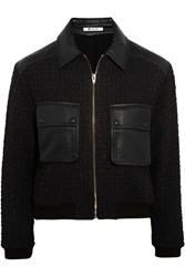 Alexander Wang Cropped Tweed And Leather Jacket Blue