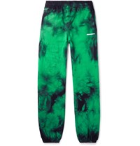 Off White Wide Leg Tie Dyed Loopback Cotton Jersey Sweatpants Green