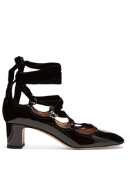 Valentino Tan Go Lace Up Patent Leather Pumps Black