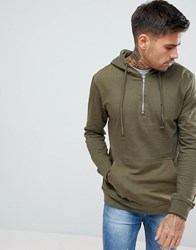Pull And Bear Pullandbear Half Zip Hoodie In Khaki Khaki Green