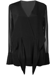 3.1 Phillip Lim Tie Front Blouse Black