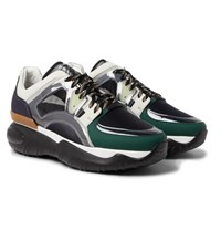 Fendi Mesh Leather Pvc And Rubber Sneakers Black