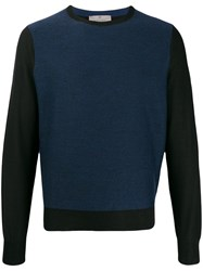 Canali Contrast Long Sleeve Sweater Blue
