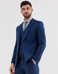Penguin Original Slim Fit Blue Semi Plain Textured Suit Jacket Navy