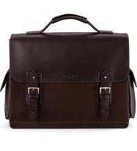 Aspinal Of London Shadow Leather And Nubuck Briefcase Brown