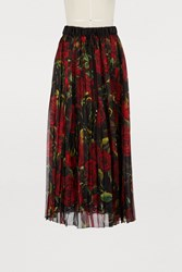 Dolce And Gabbana Red Roses Printed Silk Skirt Black Red