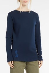 The Gigi Women S Anchor Embroidered Long Sleeved T Shirt Boutique1 Navy