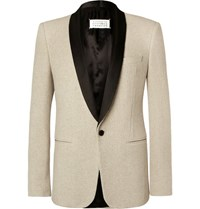Maison Martin Margiela Ecru Slim Fit Satin Trimmed Cotton Tweed Tuxedo Jacket Ecru